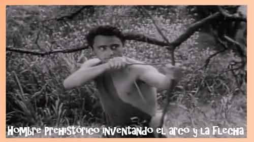 hombre-prehistorico-inventando-el-arco-y-la-flecha